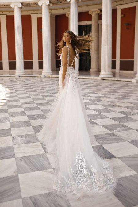 Back of 19-109 Wedding Dress from the BERTA Athens F/W 2019 Bridal Collection
