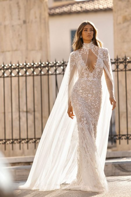 19-117 Wedding Dress with Cape from the BERTA Athens F/W 2019 Bridal Collection