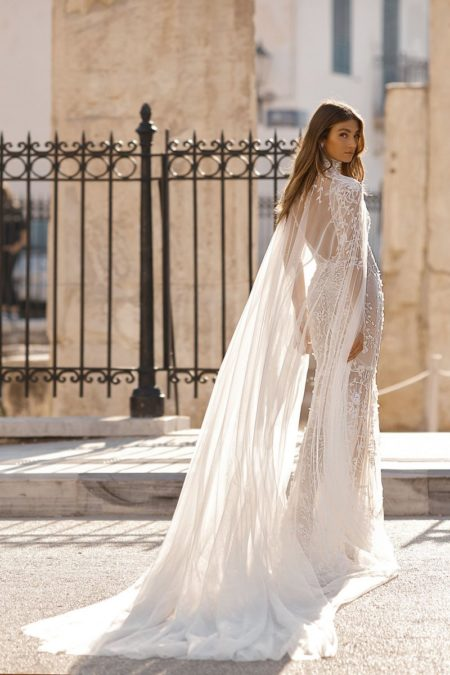 Back of 19-117 Wedding Dress with Cape from the BERTA Athens F/W 2019 Bridal Collection