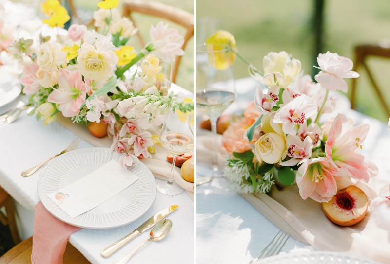 Elegant yellow and peach wedding table styling