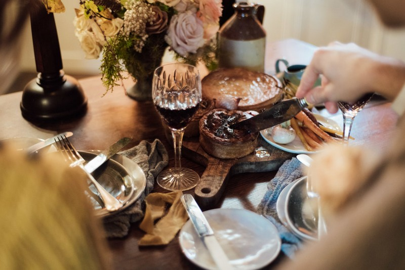 Pies on table for elopement meal