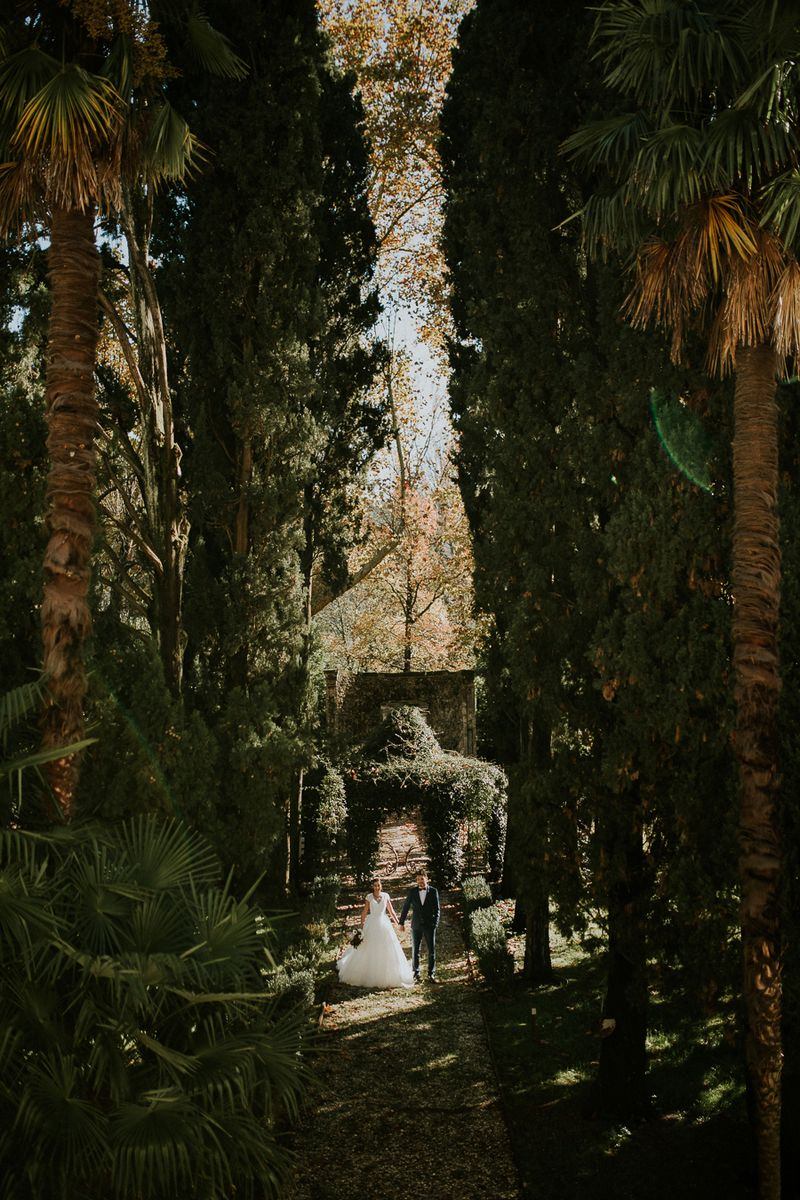 Bride and groom holding hands surrounded by tall trees in Tuscany