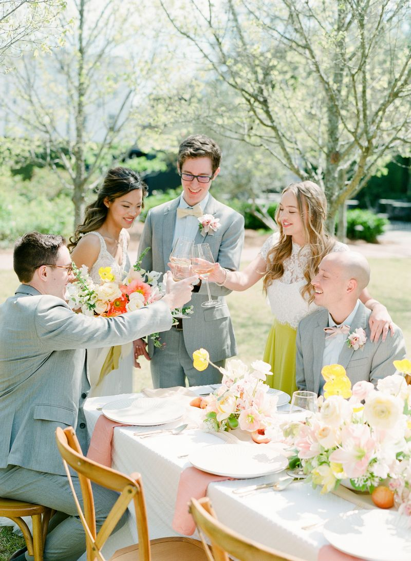 Wedding party raising toast