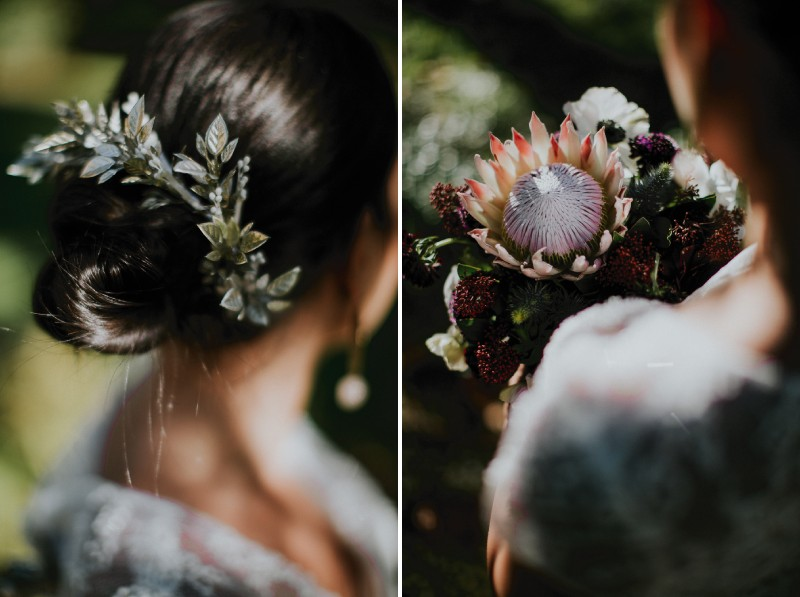 Bride's leaf hair accessory and exotic flower in bouquet