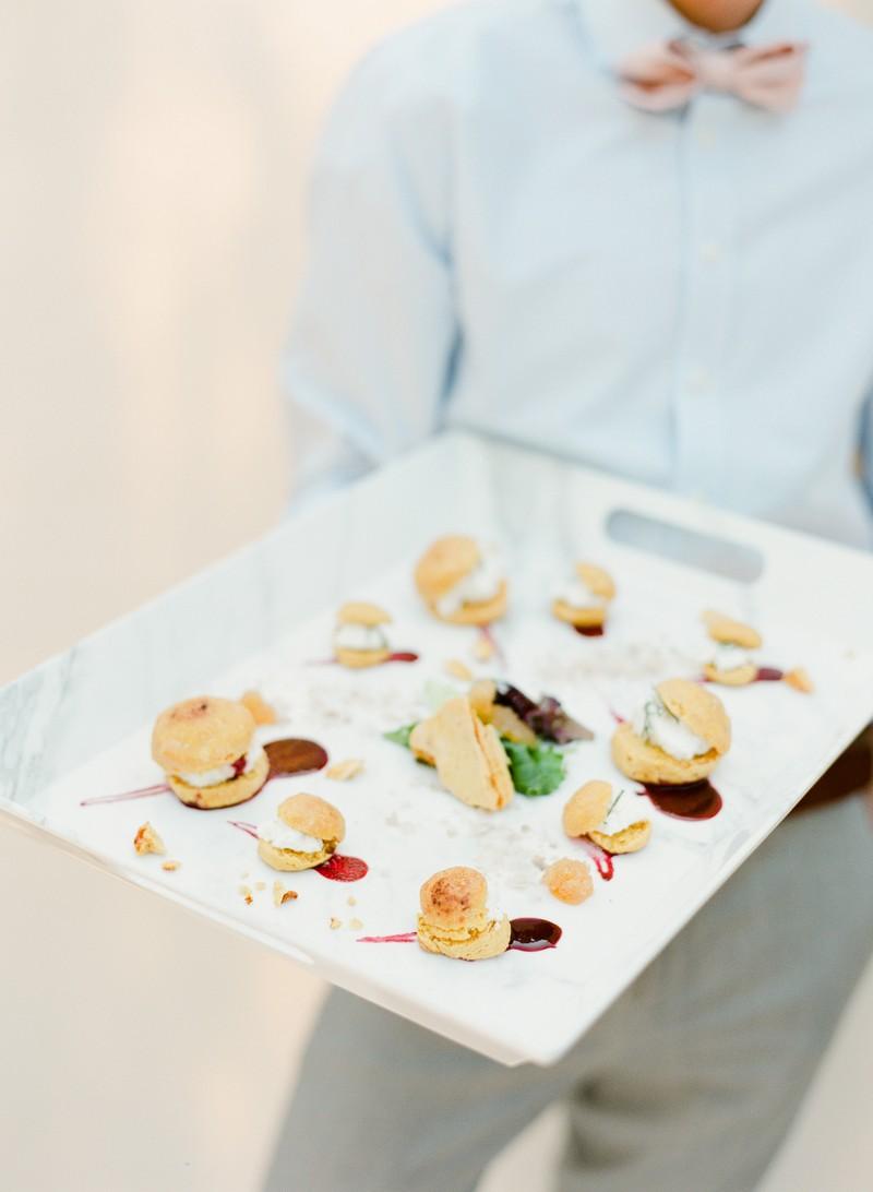 Tray of elegant wedding food