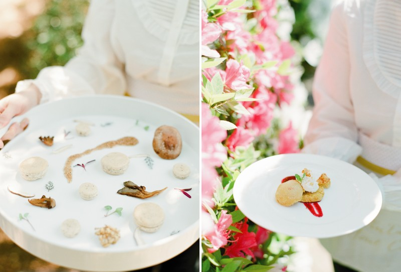Trays of wedding food and dessert