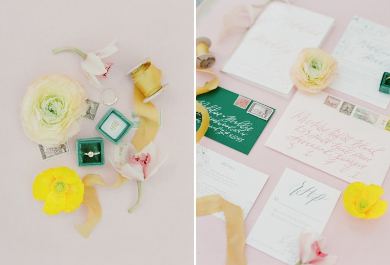 Yellow flowers and ribbon with wedding stationery
