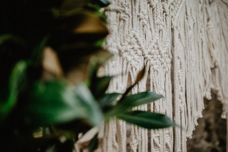 Detail of macramé wedding backdrop