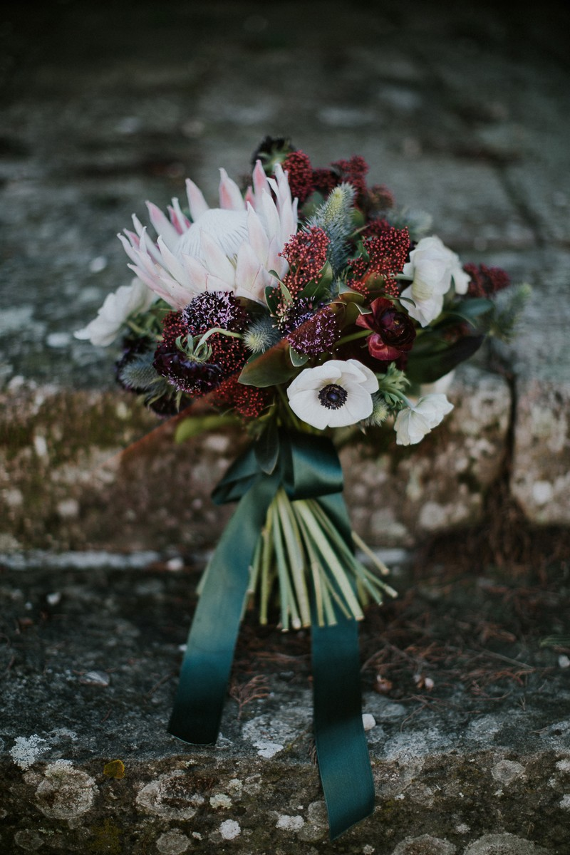 Red and white winter wedding bouquet