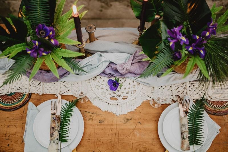 Macramé wedding table runner