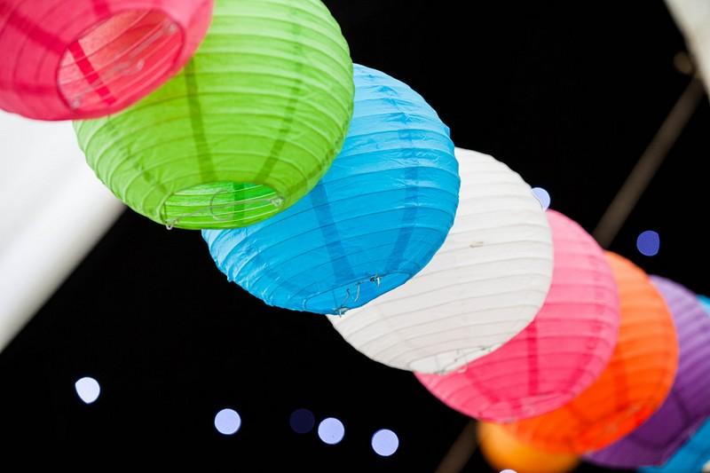 Bright coloured paper lanterns