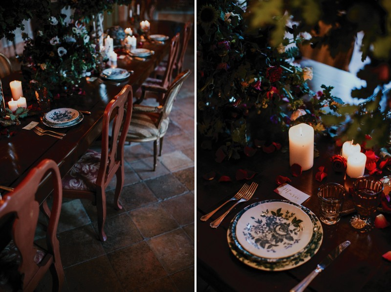 Decadent winter wedding table styling