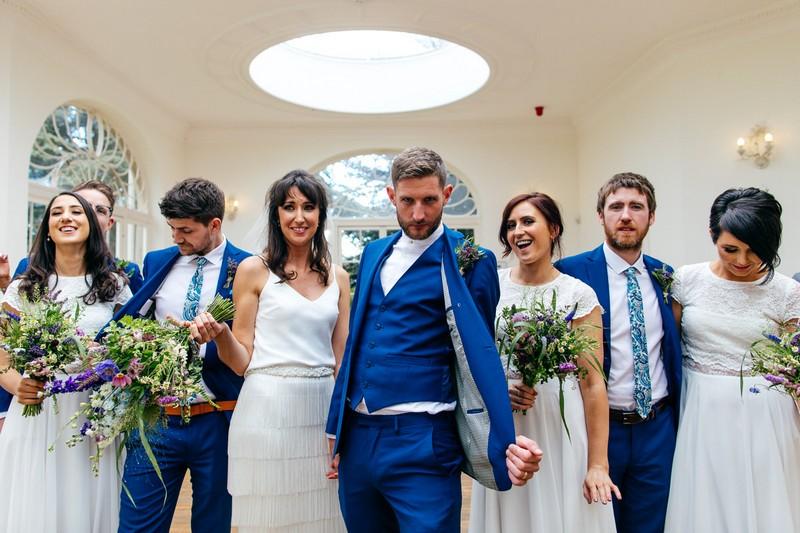 Bridal party dancing in Barton Hall