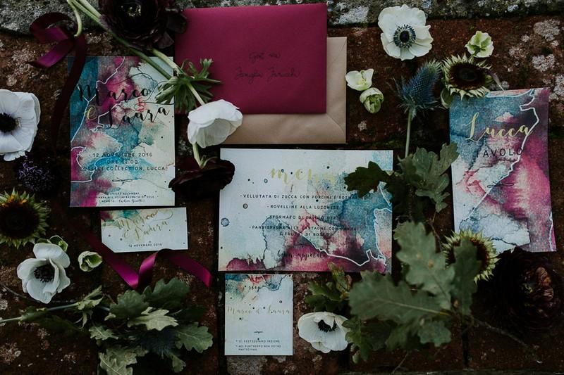 Dark red and blue winter wedding stationery