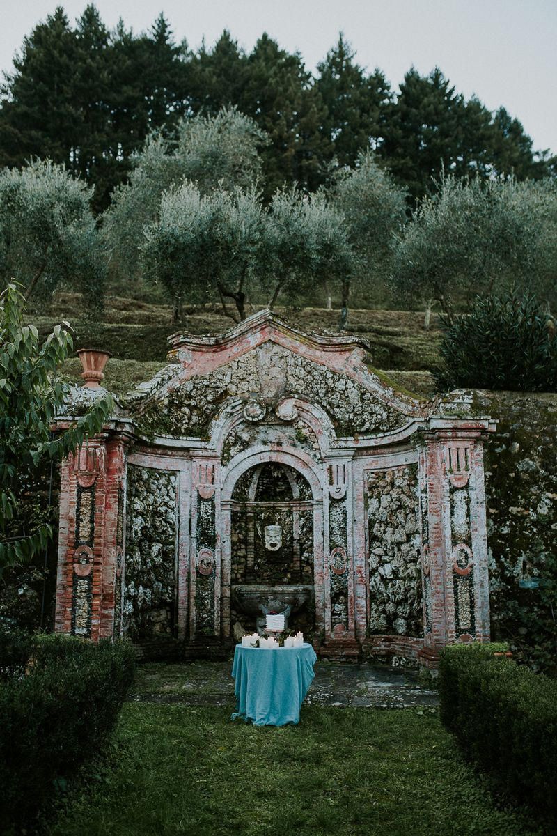 Elaborate monument in Tuscan countryside