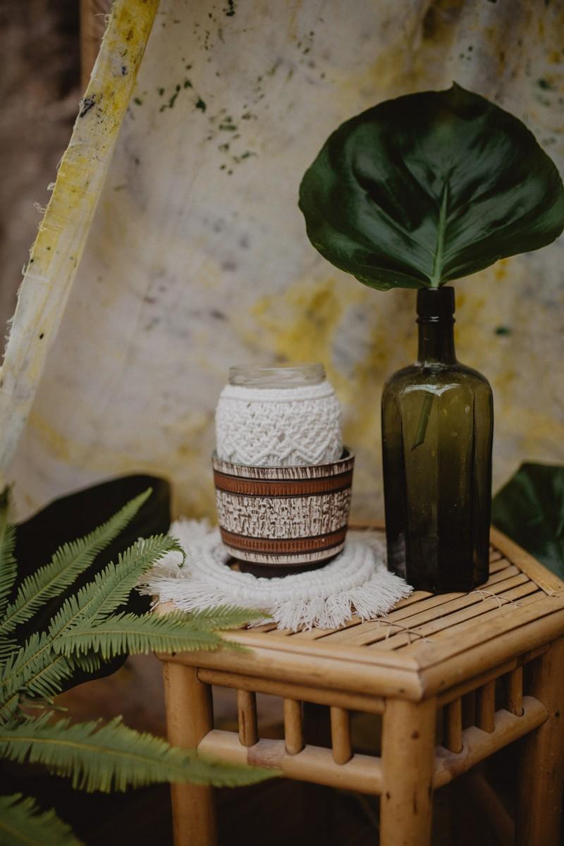 Jar wrapped in macramé