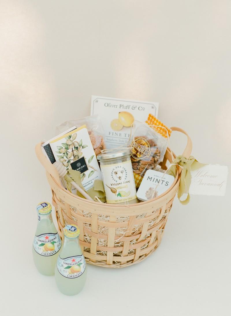 Basket of wedding welcome gifts
