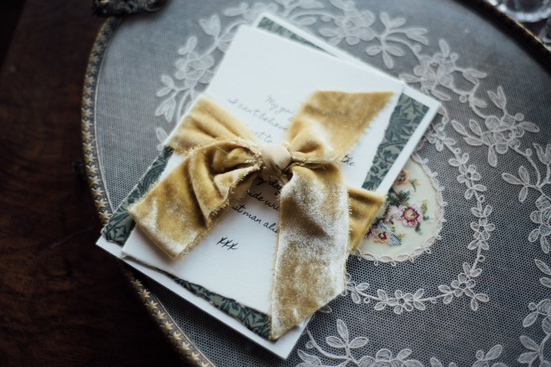 Wedding love letter wrapped in velvet ribbon