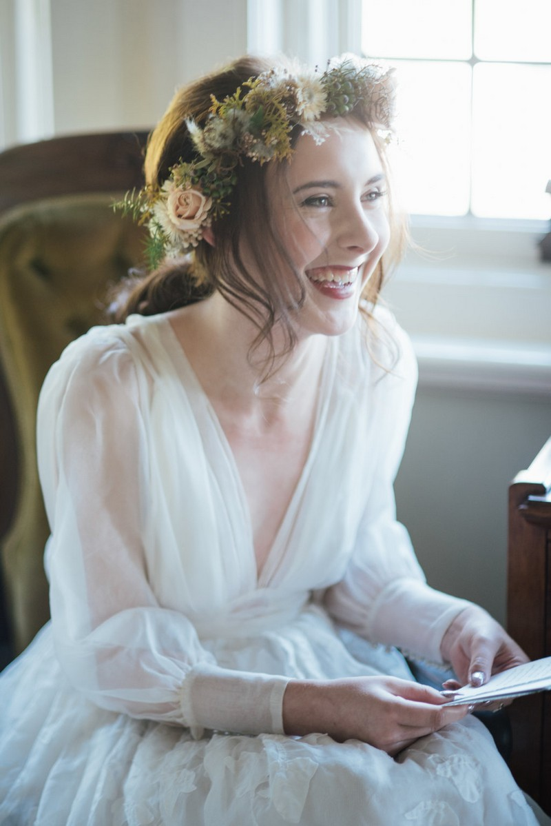 Bride happy after reading wedding day letter