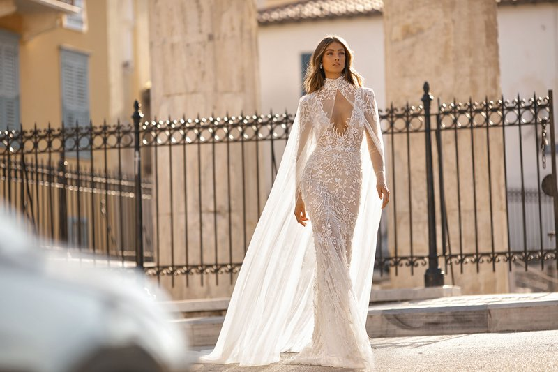 BERTA Athens Fall/interW 2019 Bridal Collection - 19-117 Wedding Dress with Cape