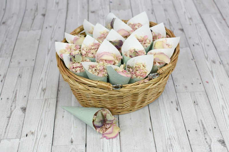 Basket of biodegradable confetti in paper cones