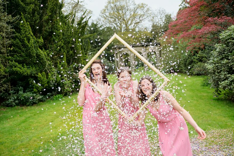Bridesmaid Confetti Moment with Picture Frame