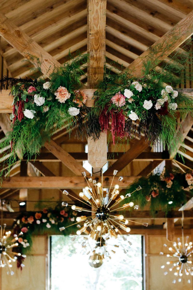 Flower and foliage garland on beam