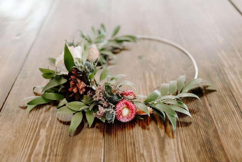 Bridal floral hoop