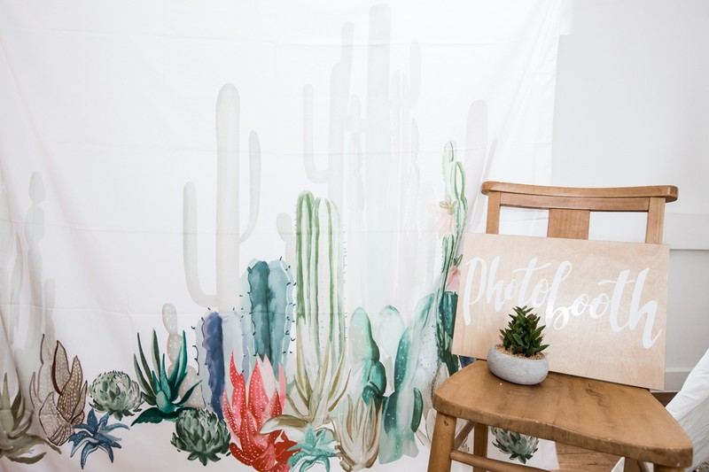 Cactus backdrop for wedding photo booth
