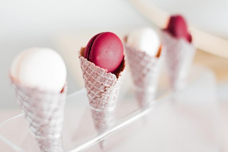 Macarons in ice cream cones