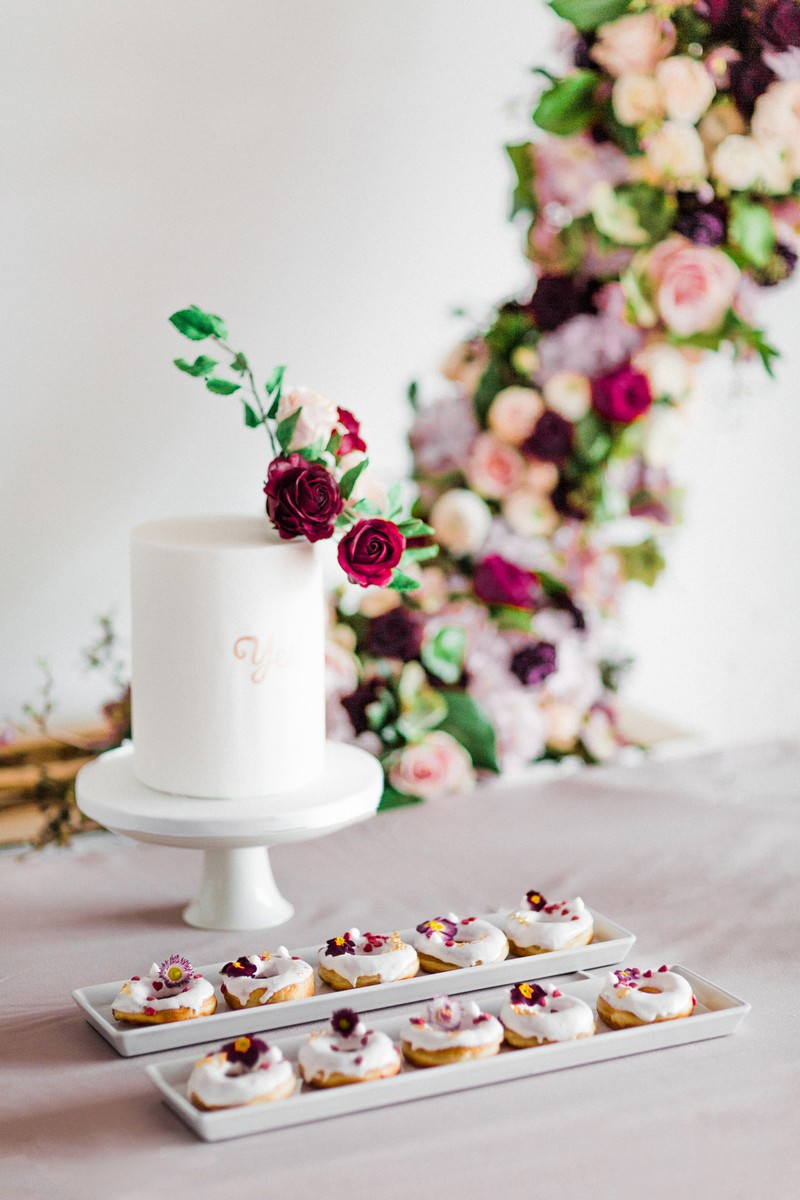 Simple white engagement cake