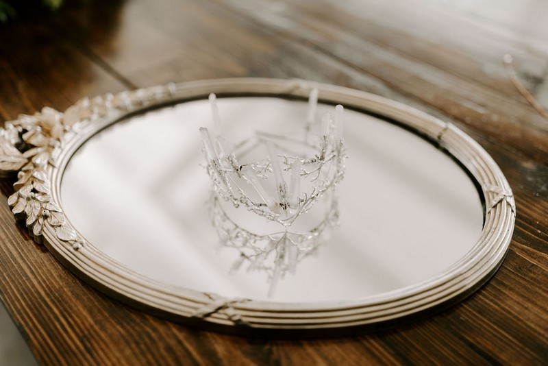 Bridal crown on mirror
