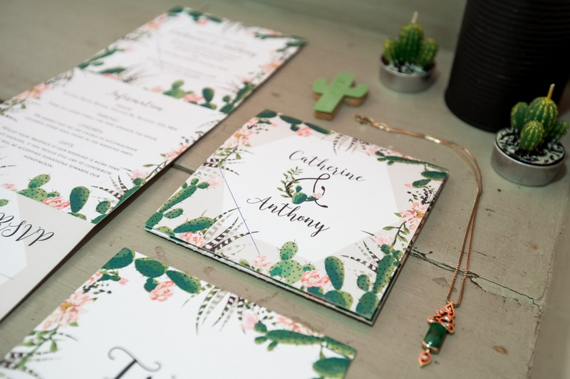 Cactus wedding stationery