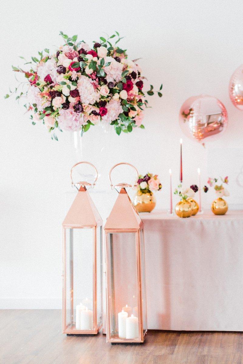 Tall rose gold lanterns