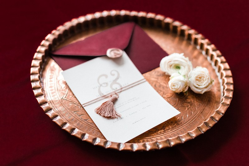 Engagement party invitation with red envelope