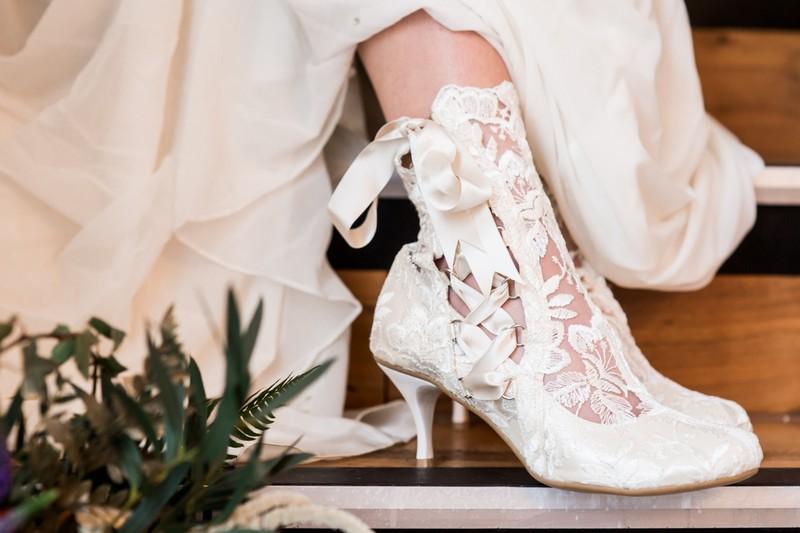 Lace bridal ankle boots