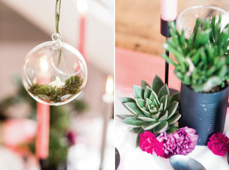Fern in glass bauble and succulents