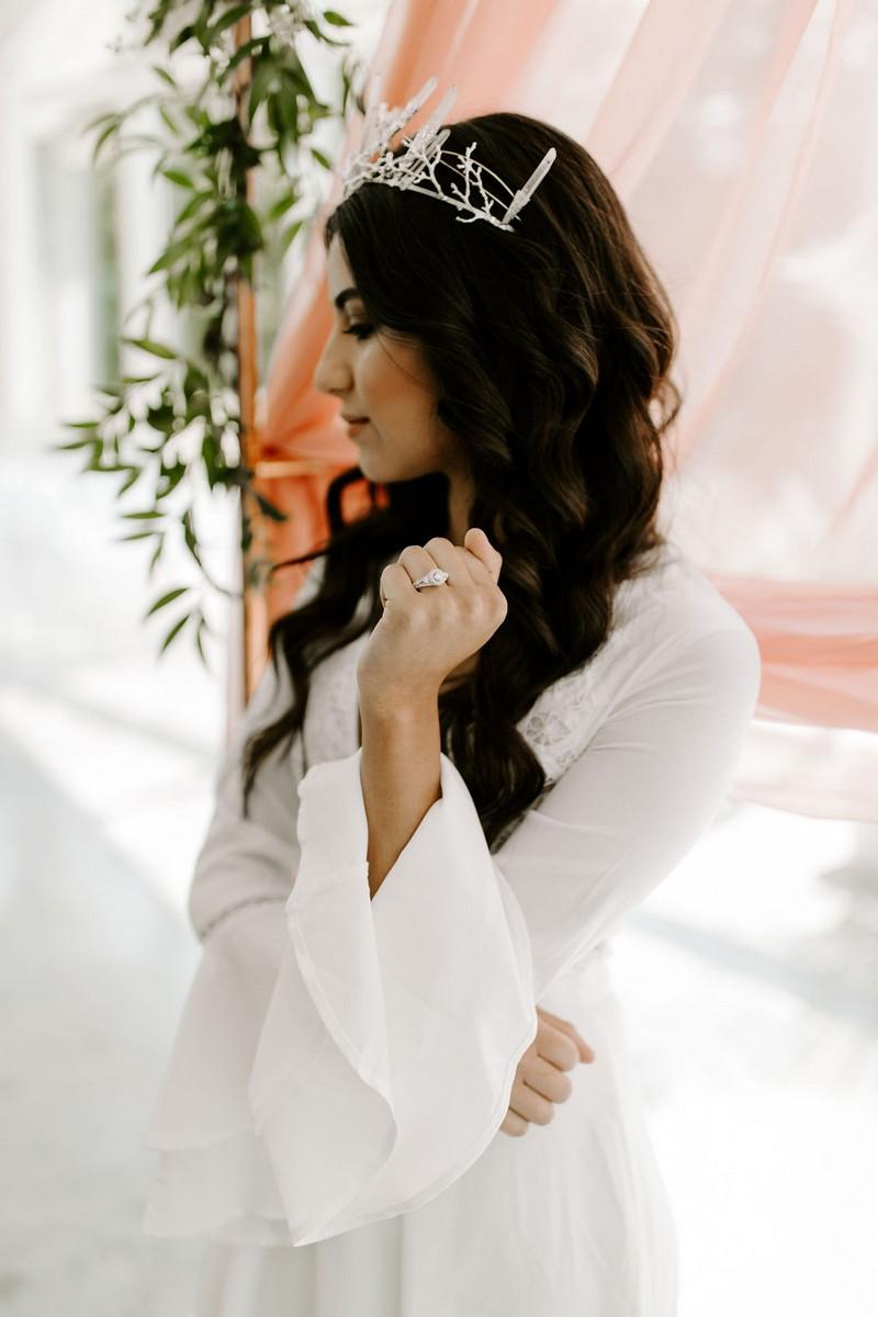 Bride wearing bridal crown