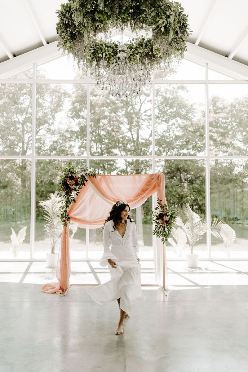 Bride walking towards camera