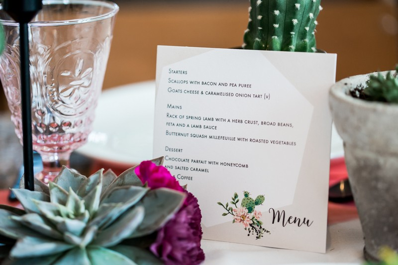 Wedding menu with cactus motif