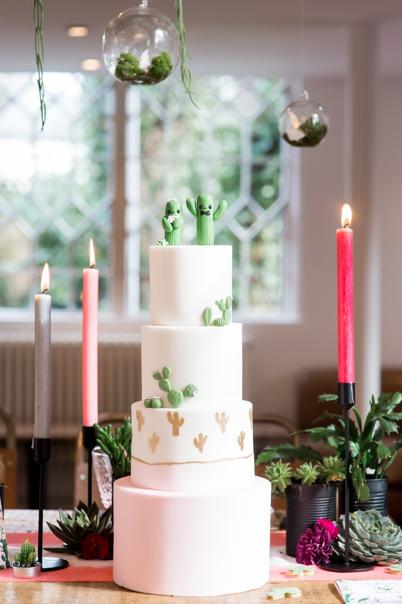 Wedding cake with cactus decoration