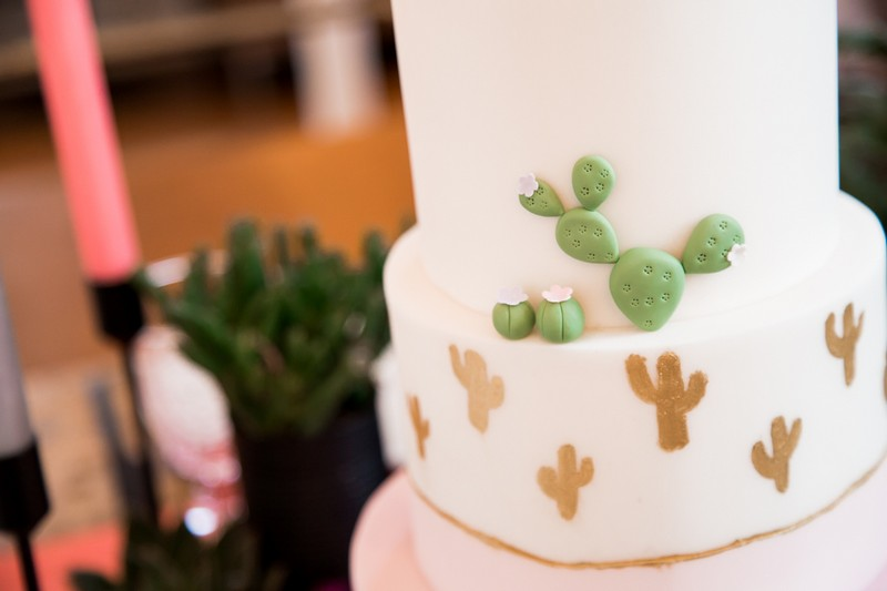 Cactus detail on wedding cake