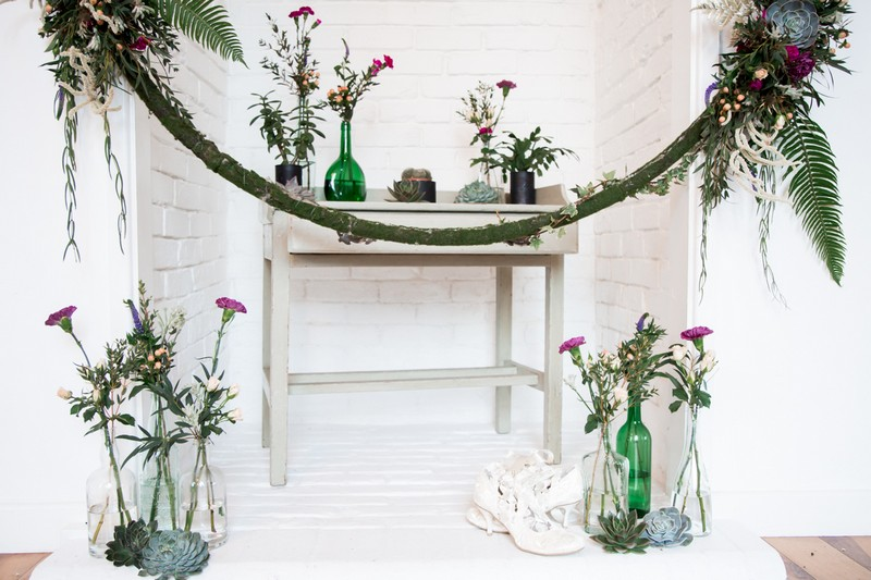 Vases of flowers for wedding ceremony display