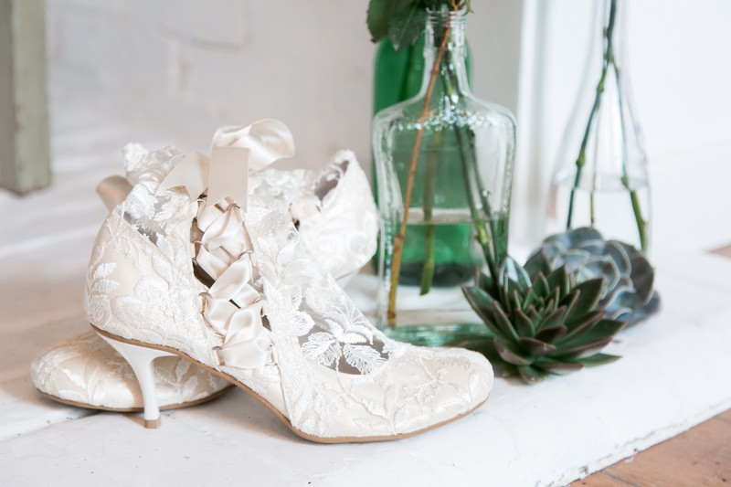 Lace bridal ankle boots