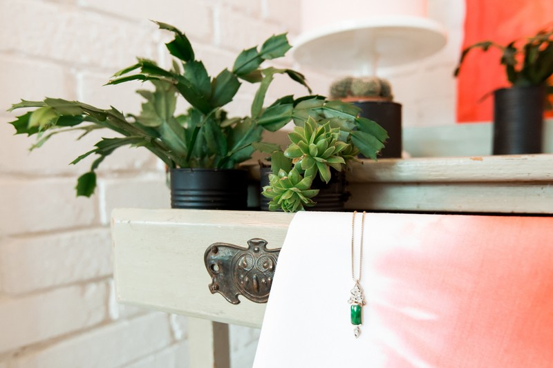 Pots of succulents in drawer of dresser