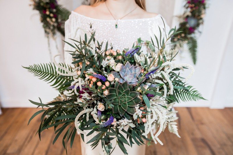 Bridal bouquet with foliage, succulents and flowers