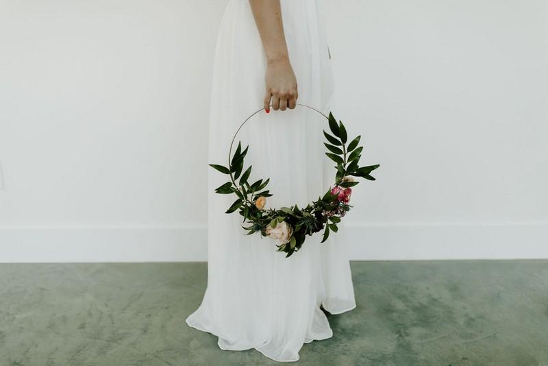 Bride's floral hoop