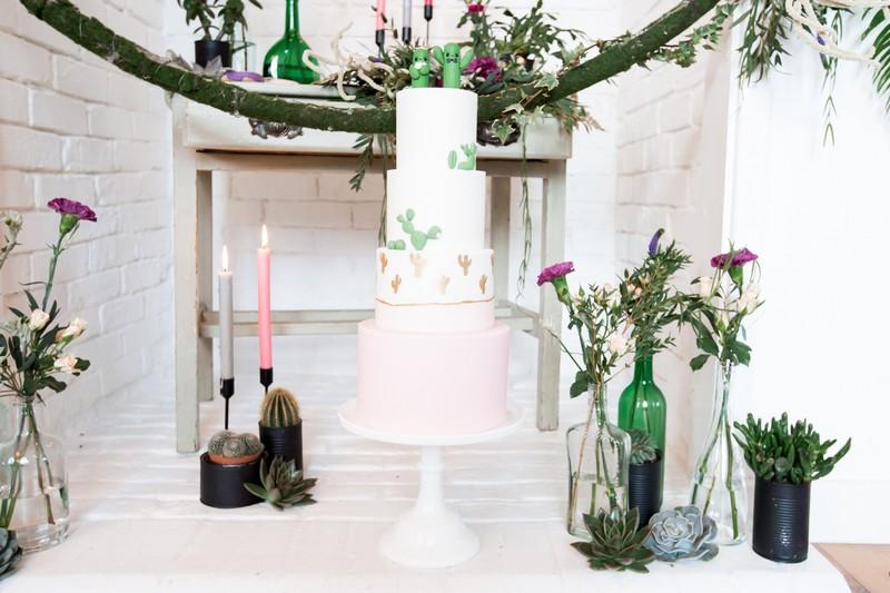 Cactus themed wedding cake