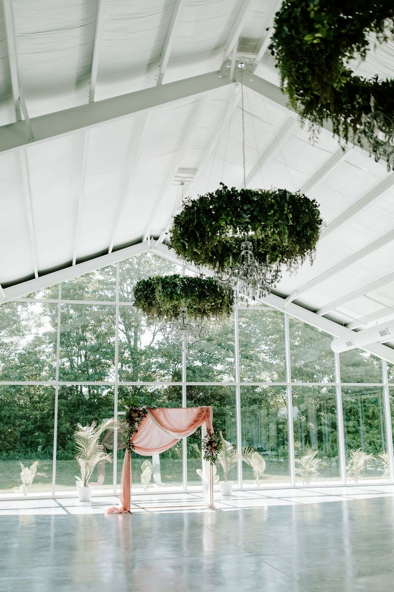 Hanging foliage installations in Greenhouse Two Rivers