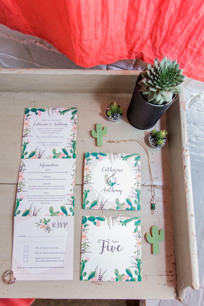 Wedding stationery with cactus design